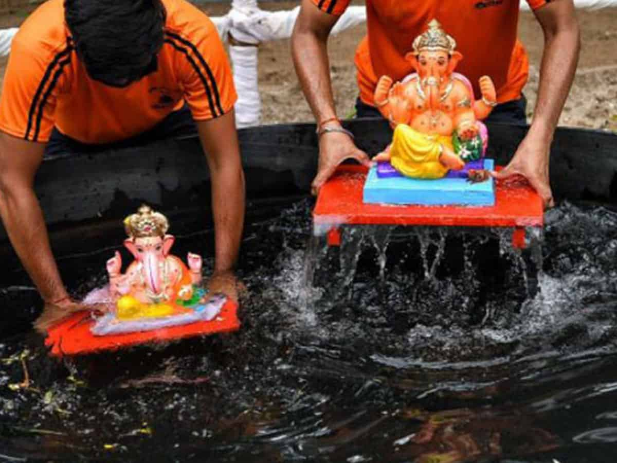 Ganesh idol immersion carried out in artificial ponds in Maharashtra