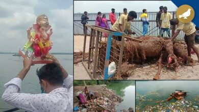 Photo of Debris cleanliness at Hussain Sagar after Ganesh immersion