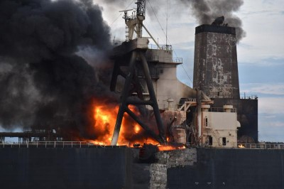 IOC chartered on fire oil tanker towed away from Sri Lankan coast