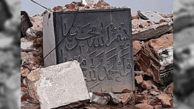 Photo of Mir Alam tank foundation stone broken; encroachments seen in FTL