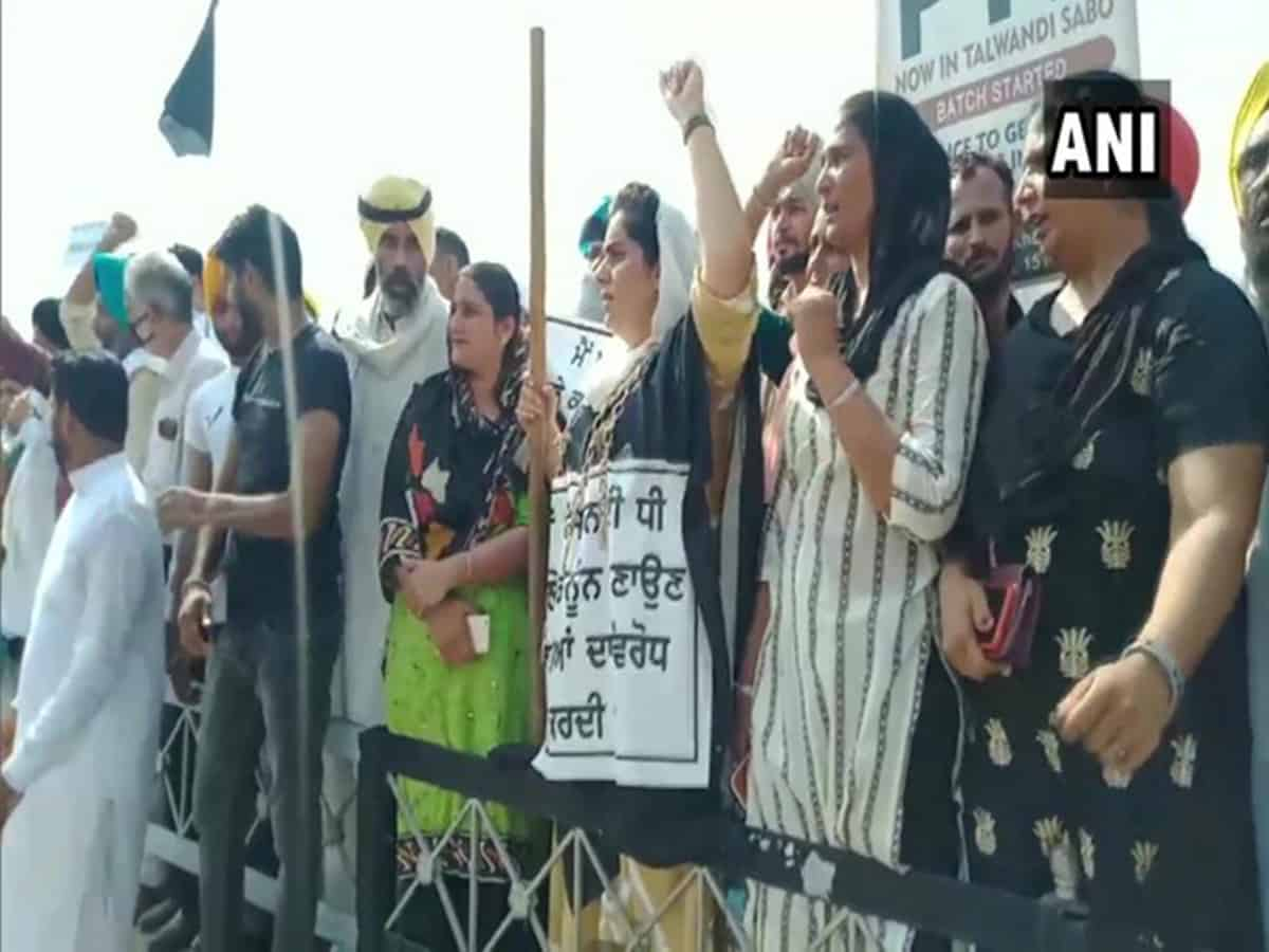 AAP workers protest against SAD in Bhatinda
