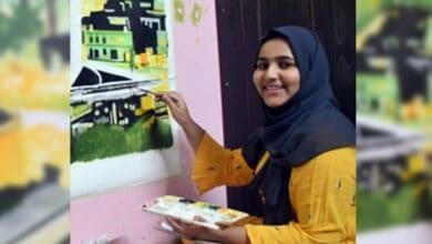 Photo of Hyderabadi girl's paintings adorn walls of London restaurant
