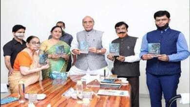 Rajnath Singh launches author Dr Krishna Saksena's 'A bouquet of flowers'