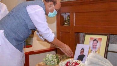 Photo of New Delhi: Rajnath Singh pays tribute to Suresh Angadi