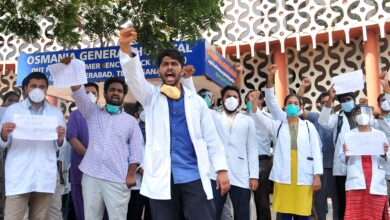Photo of Junior Doctors Associations stage protest in Osmania Hospital