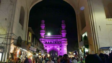 Photo of Charminar lit up for International Breast Cancer Awareness month