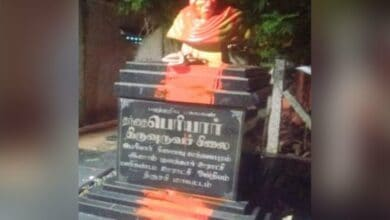 Photo of Statue of Periyar found smeared with saffron dye