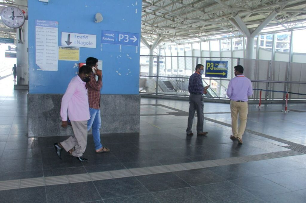Passengers travelling in Hyderabad Metro Rail