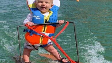 '6-month-old' Rich Humphery became the youngest water skier