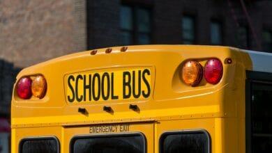School bus, close up