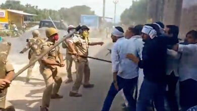 Photo of Jayant Chaudhary and others lathi-charged during Hathras victim's home visit
