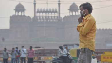 New Delhi: A man walks along a road in the backdrop the Red Fort amid hazy weather conditions, in New Delhi. (PTI Photo/Manvender Vashist