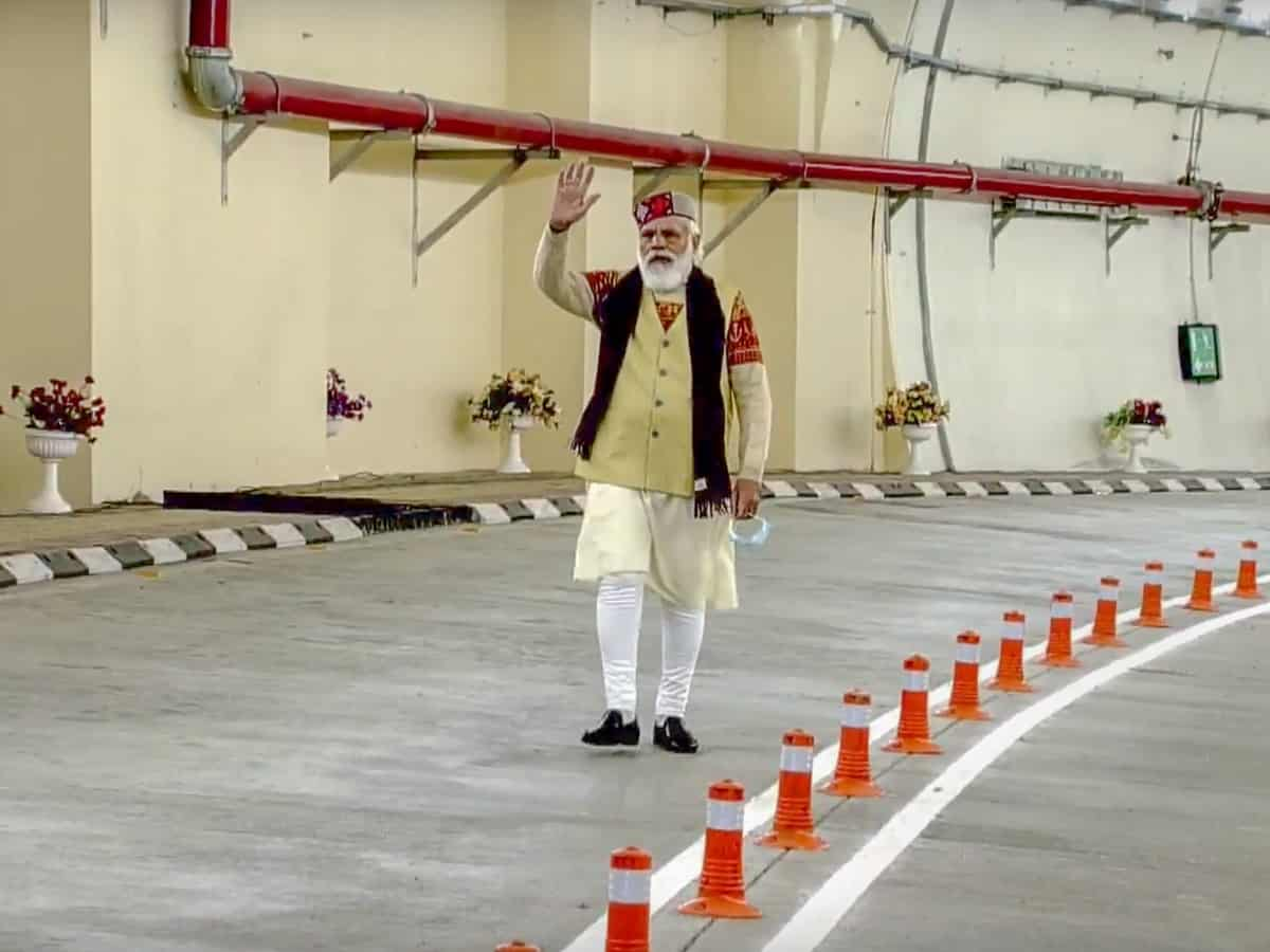 Manali: Prime Minister Narendra Modi during the inauguration of Atal tunnel, world's longest highway tunnel, in Manali, Saturday, Oct. 3, 2020. (DD/PTI Photo)(PTI03-10-2020_000032B)