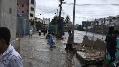 Photo of Balapur Lake overflows as rains continue to lash the city