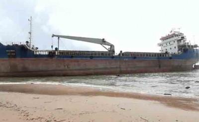 Bangladeshi cargo ship runs aground on Vizag beach