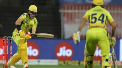 Photo of IPL 2020: Curran's anchor knock guides CSK to 114/9
