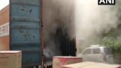 Fire breaks out in container carrying PVC material in Mumbai
