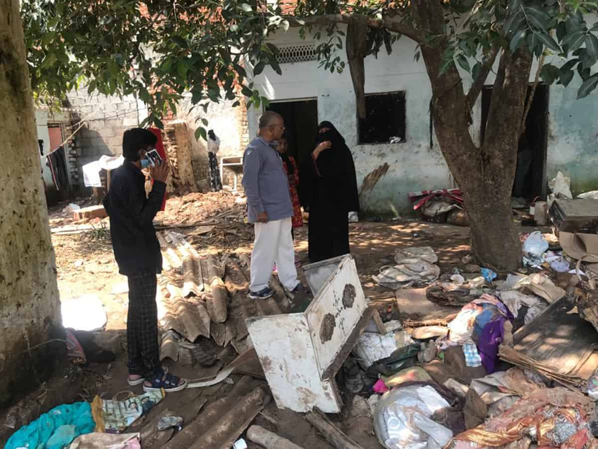 Photos of devasted houses by floods in Balapur