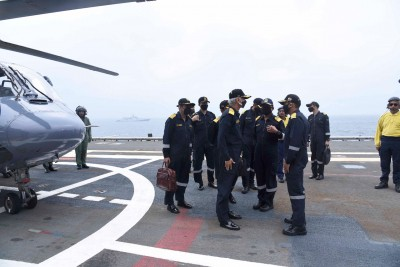 Indian Navy chief reviews operational readiness at sea