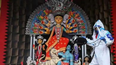Photo of Fight against coronavirus theme of Md Ali Park Durga Puja
