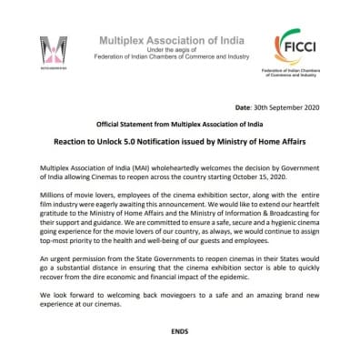 Multiplex Association of India look forward to welcoming back moviegoers
