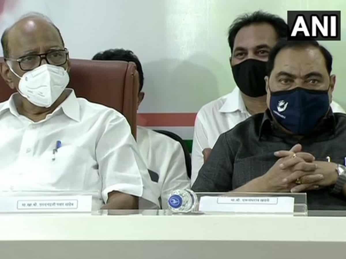 Eknath Khadse joins NCP in Mumbai