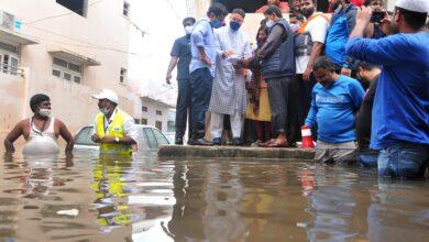 Photo of Hyderabad rains: KTR, Asaduddin Owaisi visit flood-affected areas