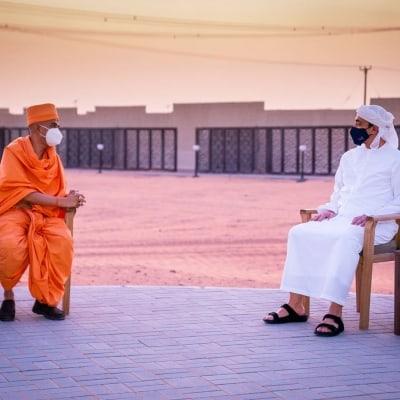 UAE's Sheikh Abdullah inspects Hindu temple site in Abu Dhabi