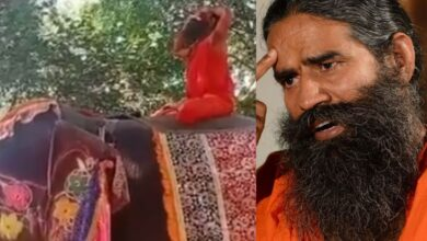 Photo of Watch: Baba Ramdev falls of an elephant while teaching yoga