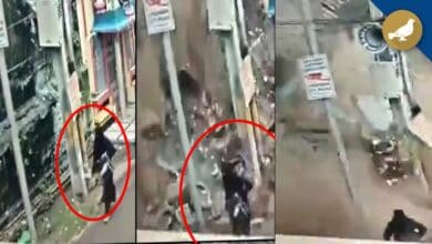 Photo of Hyderabadi Burqa clad lady narrow escape as wall collapses