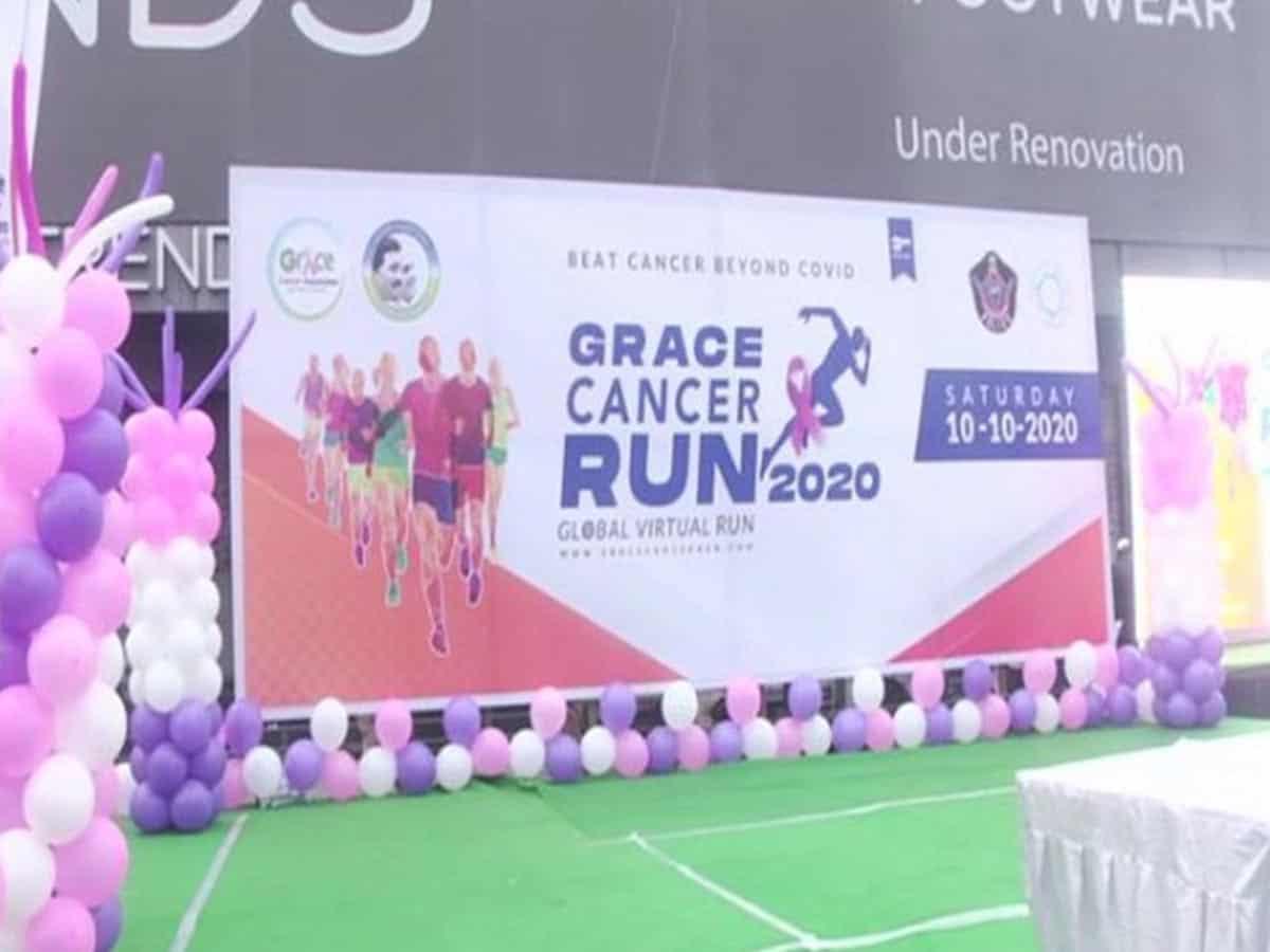 Vijayawada (Andhra Pradesh) [India], October 10 (ANI): The 'Cancer Awareness Run 2020' was flagged off on Saturday in Vijayawada by Damodar Goutam Sawang, the Director-General of Police, Andhra Pradesh.