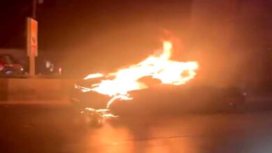 Photo of Panic at Chaderghat as car catches fire