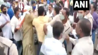 Photo of Clash between Congress and Bhim Army workers in during protest
