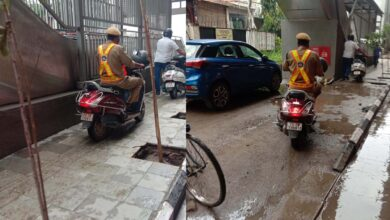 Photo of Watch: Police officer riding on the footpath without helmet