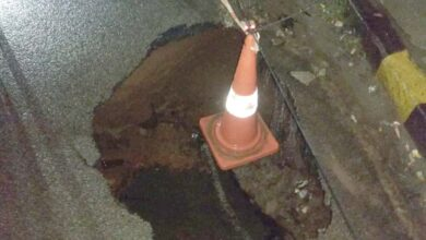Photo of Falaknuma road over bridge develops trench, traffic partly closed
