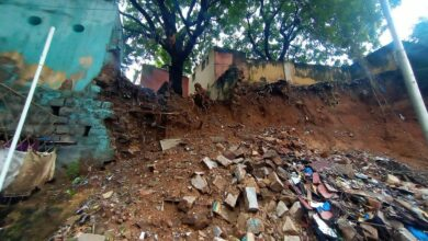 Photo of Nampally Govt. Boys School wall collapses due to rains