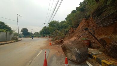 Photo of Heavy rains cause landslide on the road in Falaknuma