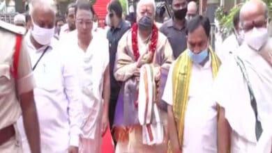 Photo of Mohan Bhagwat visits Durga temple in Vijayawada