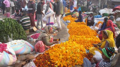 Photo of Flower market on the eve of Diwali