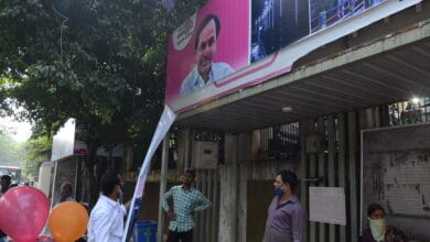 Photo of Hyderabad: Congress removes TRS ads from bus shelters