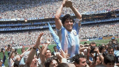 exico City: FILE - In this June 29, 1986 file photo, Diego Maradona holds up his teams trophy after Argentinas 3-2 victory over West Germany at the World Cup final soccer match at Atzeca Stadium in Mexico City. The Argentine soccer great who was among the best players ever and who led his country to the 1986 World Cup title before later struggling with cocaine use and obesity, has died. He was 60. AP/PTI