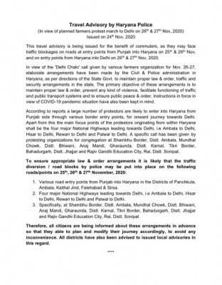 Fearing traffic blockades, Haryana issues travel advisory