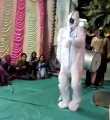 Home quarantined man dances in PPE kit at marriage ceremony