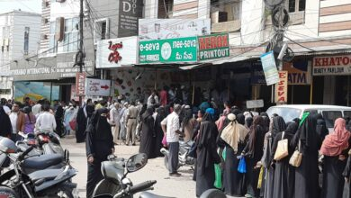 Photo of Hyderabad flood victims wait in long queues at Meeseva centres for relief