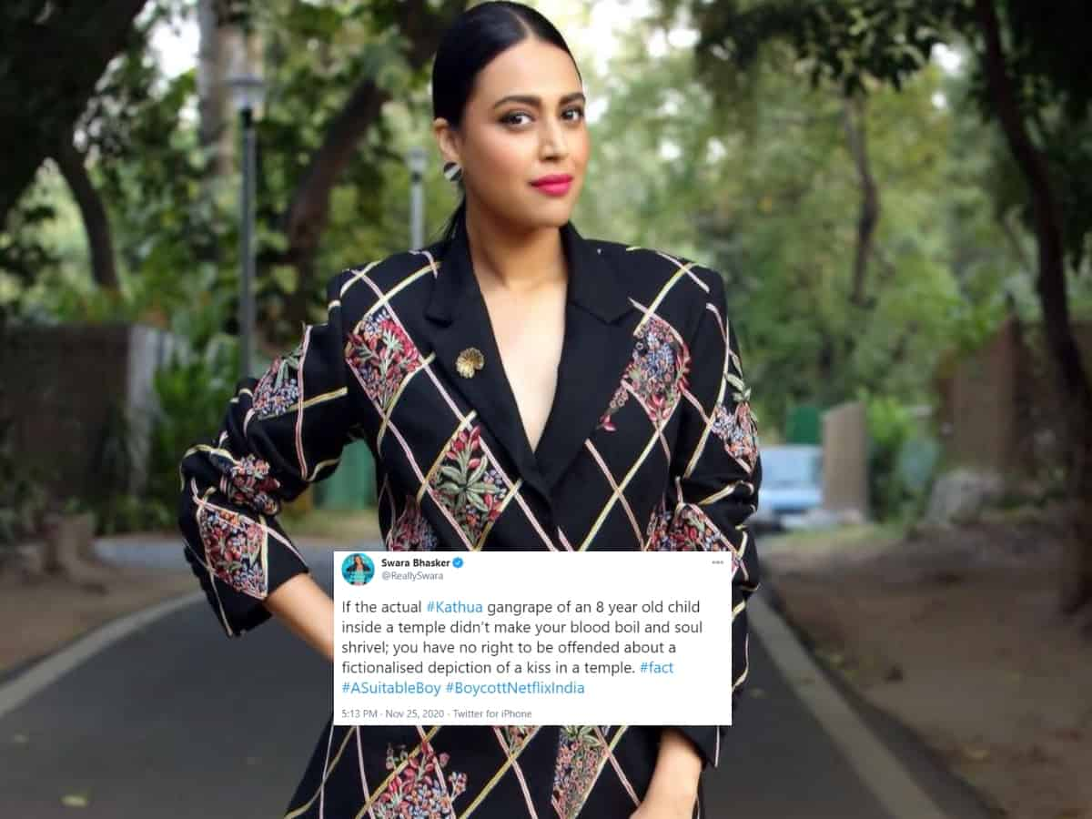 Swara Bhasker strongly responds to those outraging over temple kissing scene in Netflix series