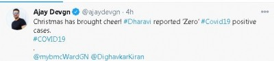 Ajay Devgn happy about Dharavi reporting zero Covid positive cases