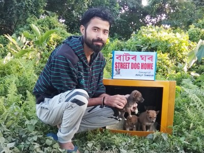 Assam youth uses discarded TV sets to house stray dogs
