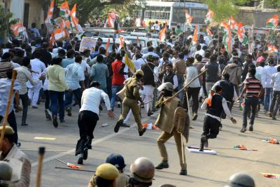 Congress leaders lathi-charged in UP's Mahoba