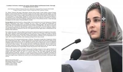Fair probe urged into Karima Baloch's murder in Canada, Pak role suspected