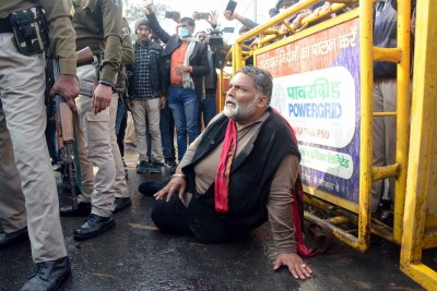 Lathicharge on protesting JAP supporters in Patna